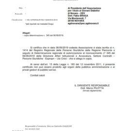 AGD NOVARA ODV – RICONOSCIMENTO PERSONALITA' GIURIDICA